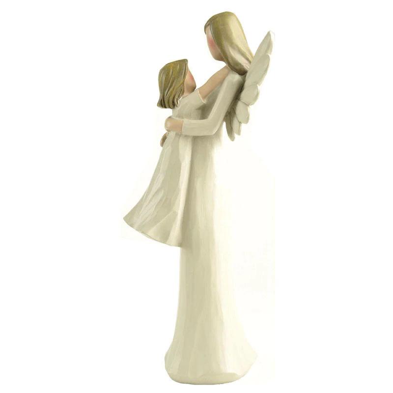 天使置物、エンジェル人形、天使雑貨グッズ、翼を広げたお母さん天使が胸に向かって飛び込んできた子供天使を両手でしっかりと受け止めている親子天使人形、エンジェルオブジェオーナメントフィギア