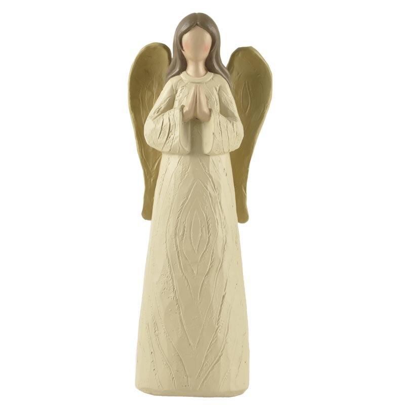 天使置物、エンジェル人形、天使雑貨グッズ、黄金の翼をもつ天使女神が両手を合わせてお祈りしている天使人形、エンジェルオブジェオーナメントフィギア