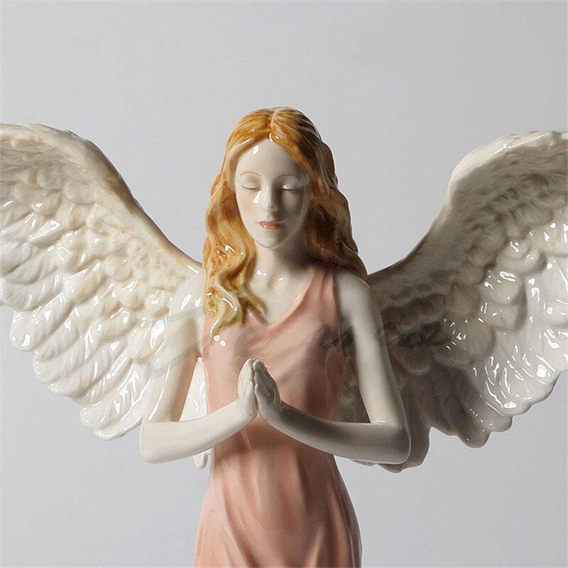 天使置物、エンジェル人形、天使雑貨グッズ、女神天使、大きな翼を広げ両手を合わせてお祈りしているピンクドレスを着ている天使人形、エンジェルオブジェオーナメントフィギア