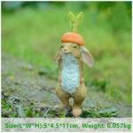 """<span class=""""title"""">ウサギ置物、ウサギ人形、ニンジン帽子をかぶって笑顔がおちゃめなうさぎ、兎のフィギア、ウサギオブジェecqdrabbit024</span>"""