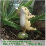 """<span class=""""title"""">ウサギ置物、ウサギ人形、青い小鳥を右手に乗せてダンスをしているうさぎ、兎のフィギア、ウサギオブジェecqdrabbit025</span>"""