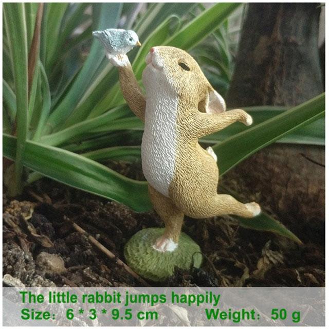 ウサギ置物、ウサギ人形、青い小鳥を右手に乗せてダンスをしているうさぎ、兎のフィギア、ウサギオブジェecqdrabbit025