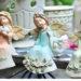 天使置物、エンジェル人形、天使雑貨グッズ、頭に花冠をつけて花柄の服を着た動物たちとたわむれる天使人形、エンジェルオブジェオーナメントフィギア